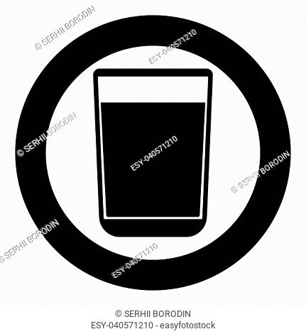 Glass with fluid the black color icon in circle or round vector illustration