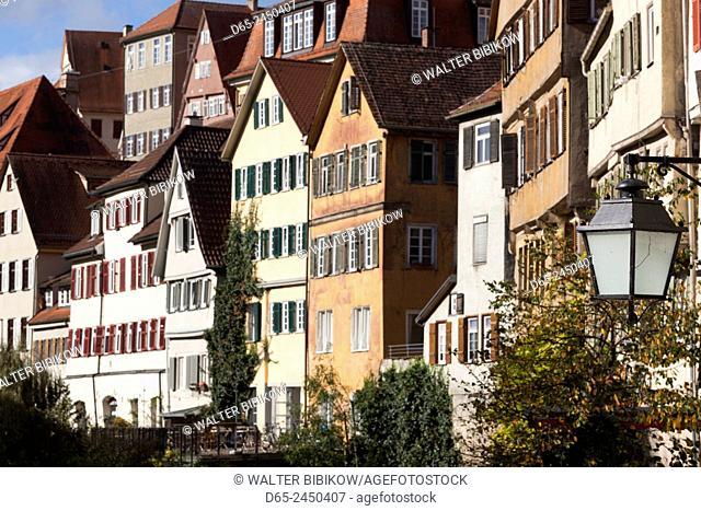 Germany, Baden-Wurttemburg, Tubingen, old town buildings along the Neckar River