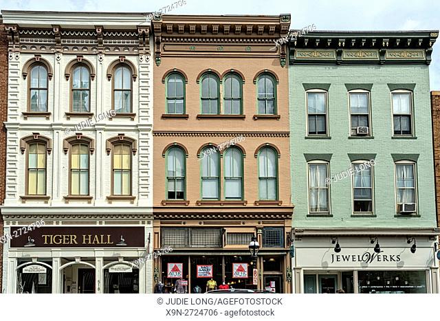 Bethlehem, PA, USA. Partial View of Beautifully REnoved and Painted Old Buidings in the Downtown Historic District