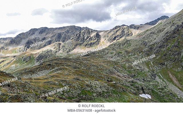 View of the Timmelsjoch on Austrian Schraakogel, Tyrol