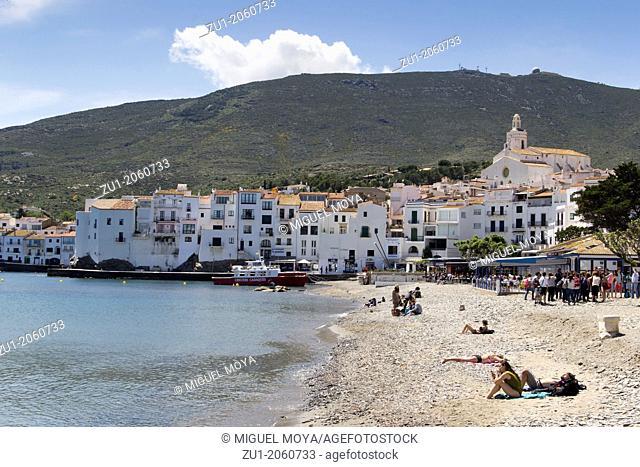 Beach in Cadaqués, Costa Brava, Girona province, Catalonia, Spain
