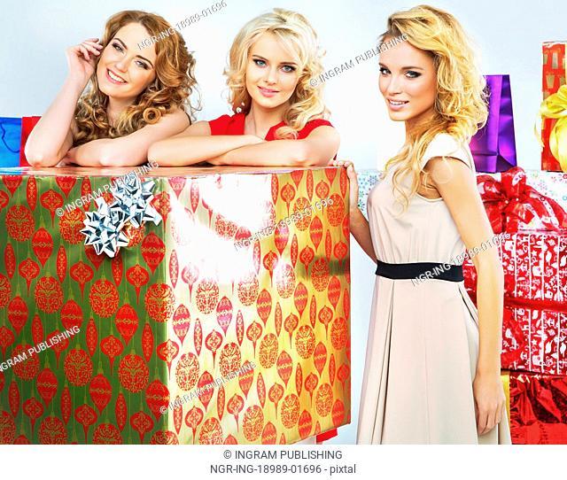 Christmas mood portrait of three ladies