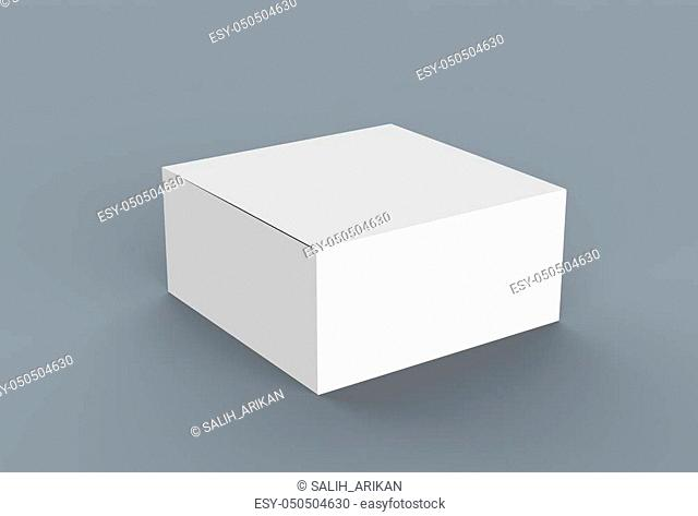 White cardboard box mock up. 3D illustrating