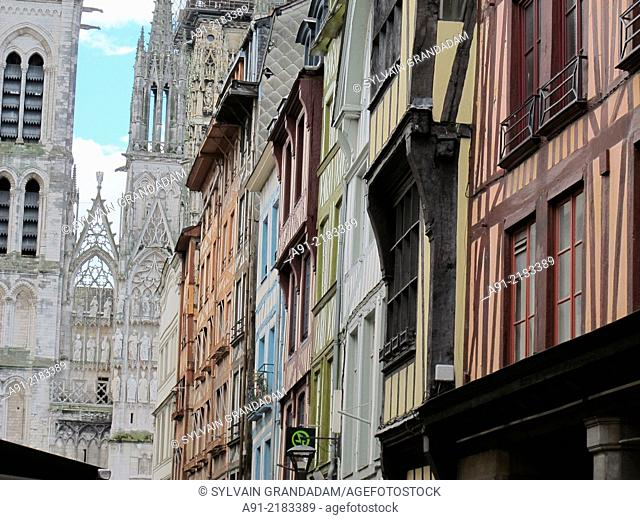 France, Normandy, Seine maritime department (76), city of Rouen, the gothic cathedral
