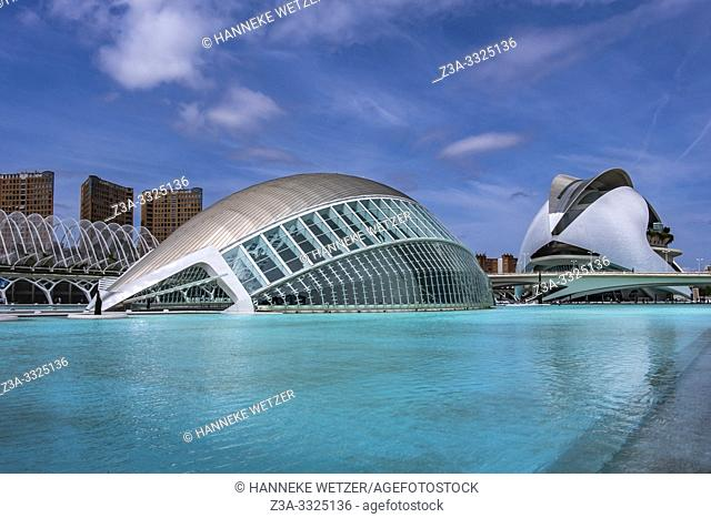 Planetarium and Palau de les Artes, Ciudad de las artes y las ciencias, City of Arts and Science, Valencia, Spain, Europe