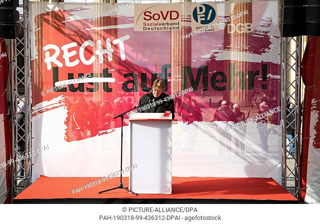 18 March 2019, Berlin: Reiner Hoffmann, Chairman of the German Confederation of Trade Unions (DGB), speaks at a rally of the German Confederation of Trade...