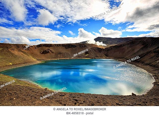 Volcanic lake, crater lake Viti at the central volcano Krafla, Myvatn, North Iceland, Iceland