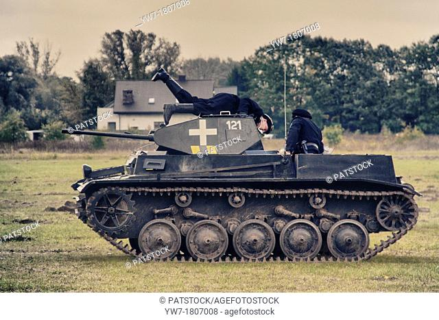 German tank PzKpfw II, Panzer II crew during Battle of Lomianki - historical reenactment, Poland