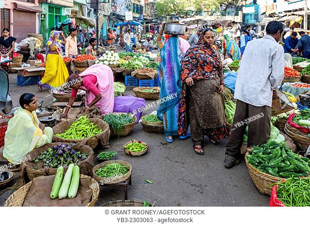 Local People Shopping In The Vegetable Market, Udaipur, Rajasthan, India