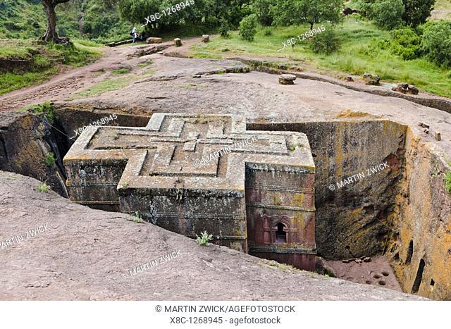The rock-hewn churches of Lalibela in Ethiopia  Exterior facade of church Bet Giyorgis  The churches of Lalibela have been constructed in the 12th or 13th...