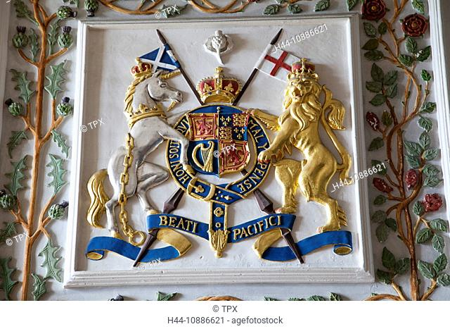 Scotland, Edinburgh, Edinburgh Castle, Coat of Arms in the Royal Palace