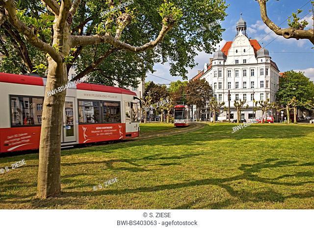 two trams on roundabout Borsigplatz, Germany, North Rhine-Westphalia, Ruhr Area, Dortmund