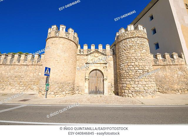 old city wall in a street of Penaranda de Duero village, landmark and public monument from fifteenth century, in Burgos, Castile and Leon, Spain, Europe