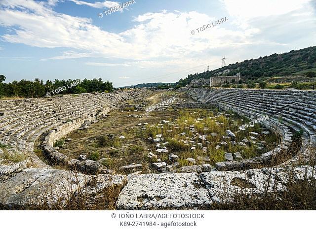 Perge stadium. Old capital of Pamphylia Secunda. Ancient Greece. Asia Minor. Turkey