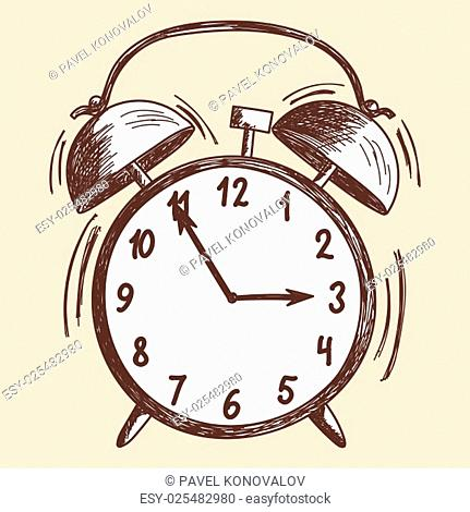 Alarm clock sketch. EPS 10 vector illustration without transparency