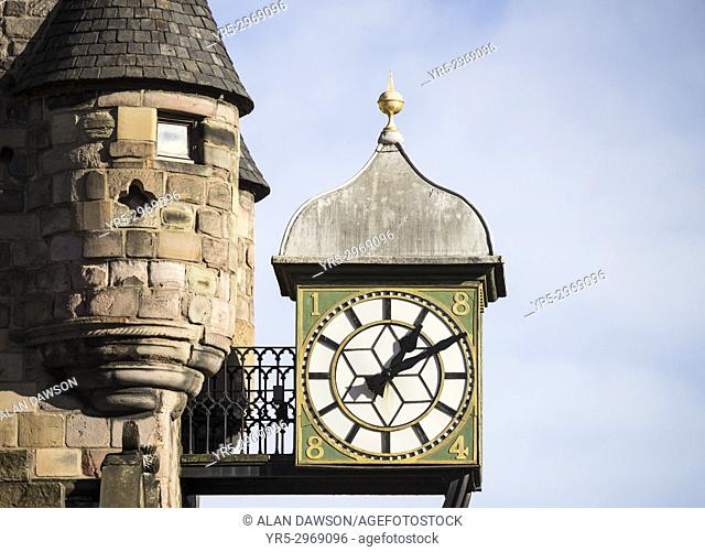 Historic Canongate Tolbooth building on The Royal Mile, Edinburgh, Scotland, United Kingdom. Canongate Tolbooth is a historic landmark of the Old Town area of...