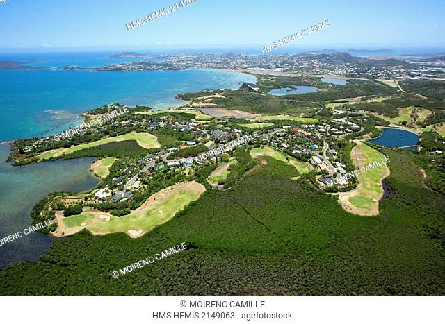France, New Caledonia, Grande-Terre, Southern Province, Noumea, golf Tina (aerial view)