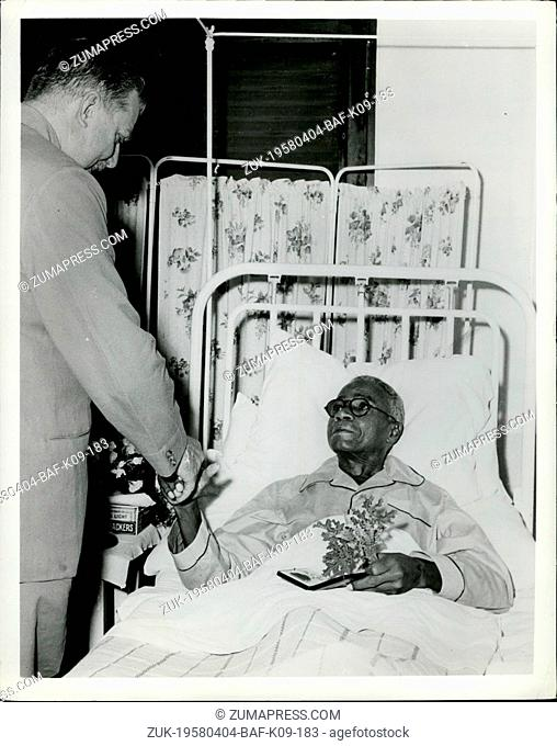 Apr. 04, 1958 - Doctor Honored On Sick Bed: Doctor the Reverend Cyril Augustus Wallace, who for the last 15 years has worked among Tanganyika's lepers as a...