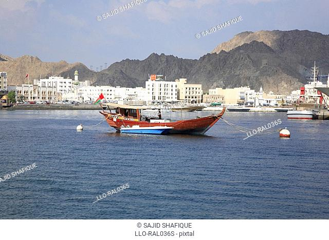 Traditional dhow in Mutrah bay, Oman, UAE