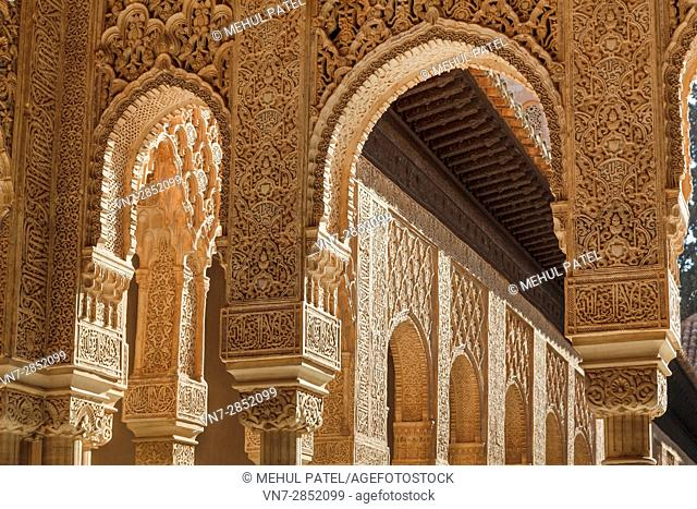 Detail on the courtyard columns of the Lions Palace of the Alhambra - Granada, Spain