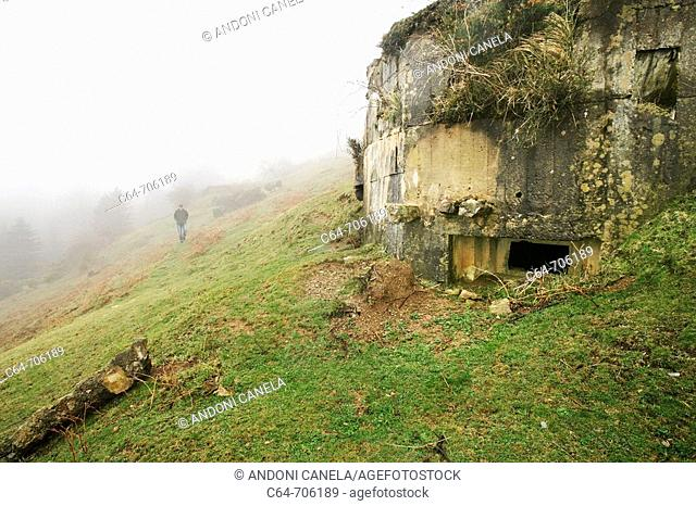 Bunkers from 'La linea P' through the Pyrenees border between Spain and France. Pyrenees. Baztan. Navarra. Spain
