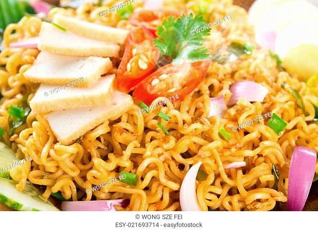 Close up Dry Instant Noodle