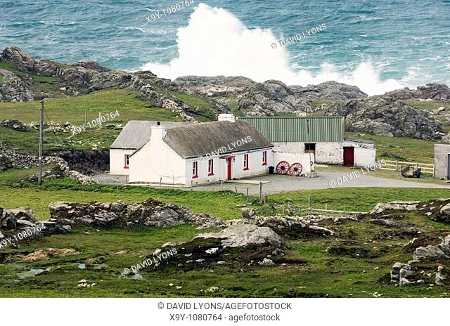 Atlantic storm waves beat the coast near Malin Head on the Inishowen Peninsula, County Donegal  Northernmost tip of Ireland