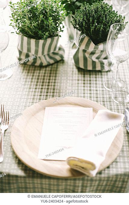 Table set for romantic dinner
