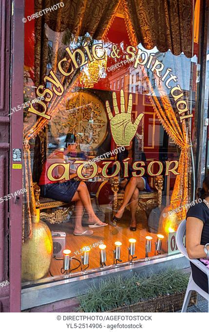 New York City, USA, Bleecker Street, Astrologist Shop Window, Greenwich Village,