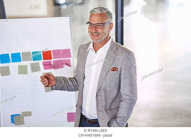 Smiling businessman leading meeting at flipchart with adhesive notes
