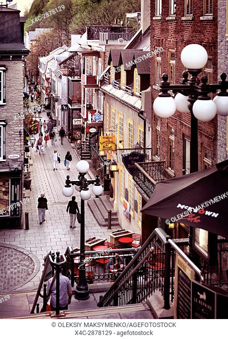 Shops and restaurants on a historic street Rue du Petit Champlain in old Quebec City, view from above. Quebec, Canada. Ville de Québec