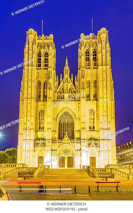 Belgium, Brussels, Cathedral of St Michael and St Gudula at night