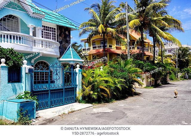 street in Blue Bay village-resort, Mauritius, Africa