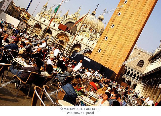 Italy,Venice. Saint Mark's Square with Basilica and Campanile
