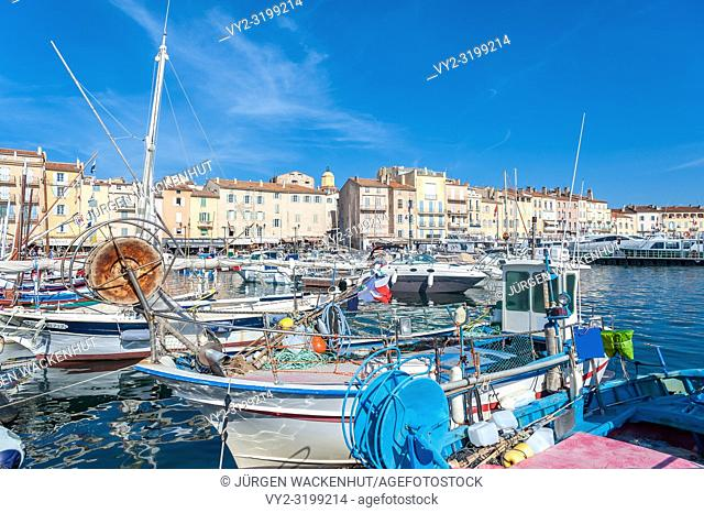 Fishing boats in the harbor, Saint-Tropez, Var, Provence-Alpes-Cote d`Azur, France, Europe