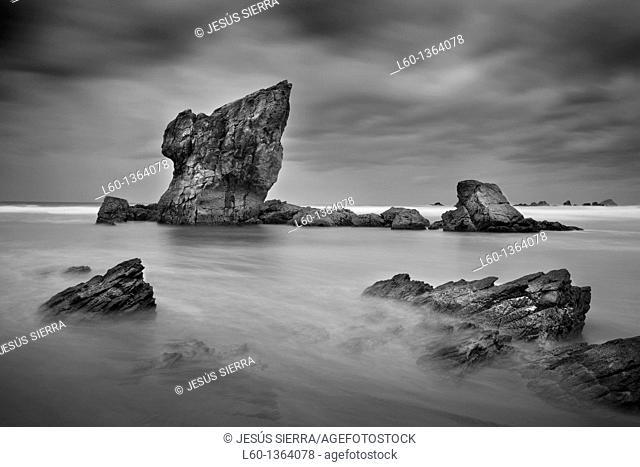 Aguilar Beach near of Cudillero, Asturias, Spain