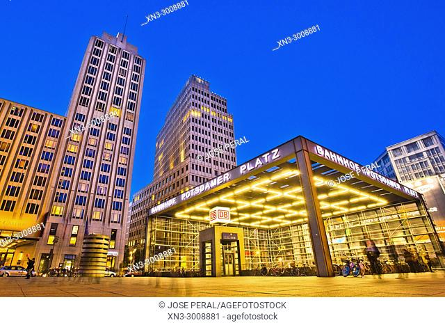 Bahnhof Potsdamer Platz, railway station Potsdamer Platz, Hotel Ritz Carlton, Beisheim Center, Potsdam Square, Potsdamer Platz, Tiergarten district, Mitte