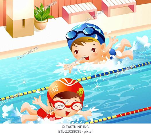 High angle view of a boy and a girl swimming in a swimming pool