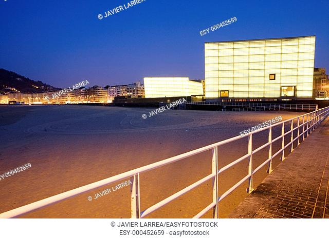 Zurriola beach. Kursaal Center, by Rafael Moneo. San Sebastián. Guipuzcoa. Spain