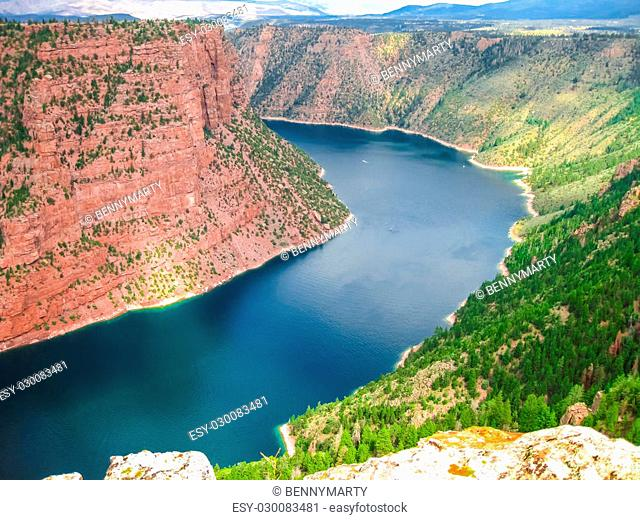 Aerial view of Flaming Gorge National Recreation Area located between Utah and Wyoming, a reservoir on the Green River, created by Flaming Gorge Dam located in...