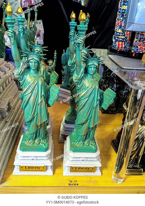 New York City, New York, USA. Statue of Liberty Island gift shop, selling little statues of liberty for a staggering $54, 95