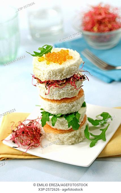 Salmon and cheese tower