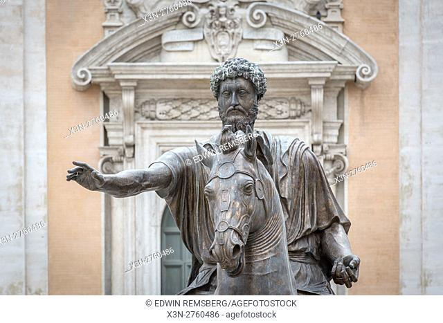 Rome, Italy- A close up of an equestrian sculpture outside of one of the Capitoline Museums in Piazza del Campidoglio on top if the Capitoline Hill in Rome