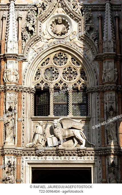Venice (Italy). Detail of the facade of the Doge's Palace in the city of Venice