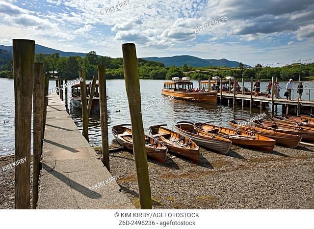 Boats at the lakeside Derwentwater Keswick Cumbria England UK United Kingdom GB Great Britain