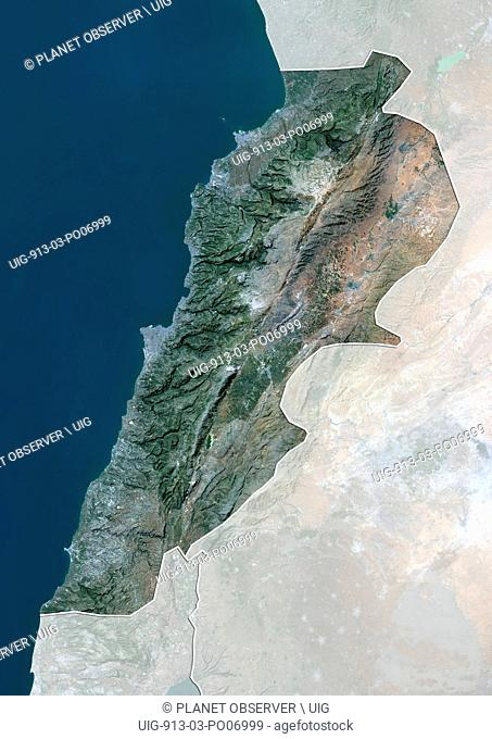 Satellite view of Lebanon (with country boundaries and mask). This image was compiled from data acquired by Landsat 8 satellite in 2014