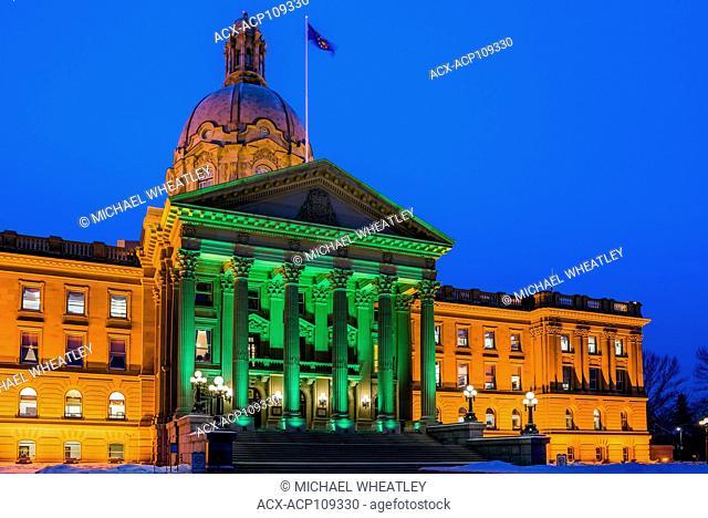 The Alberta Legislature at night, Edmonton, Alberta, Canada