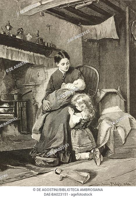 Evening, a mother with her baby in front of the fireplace, a child saying prayers, engraving from a painting by Charlotte Weeks