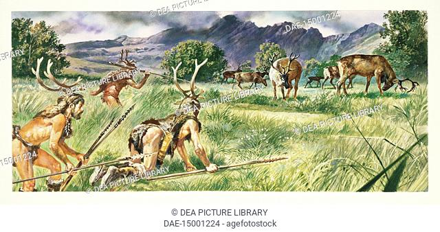 Prehistory - Neolithic - Reconstruction of daily life and environment of primitive people, hunting scene. Drawing