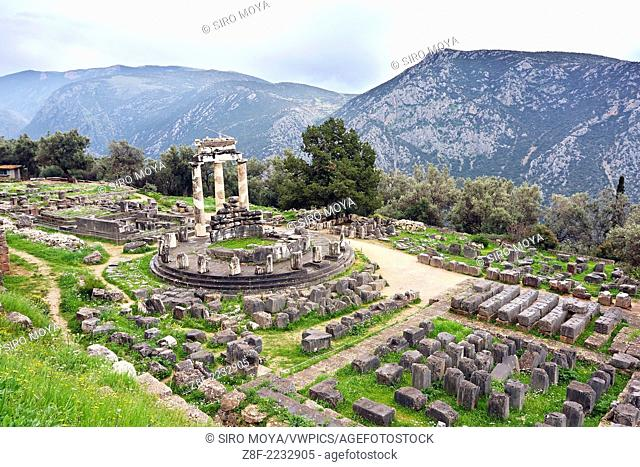 View of the Tholos from above, Sanctuary of Athena, Delphi, Greece